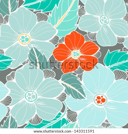 Seamless texture with flowers and leaves. Seamless pattern can be used for wallpaper, pattern fills, web page background,surface textures. Gorgeous seamless floral background.  - stock vector