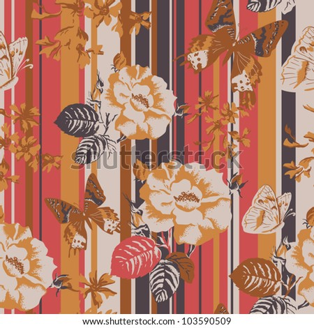 Seamless texture with flowers on a striped background.  Vector background for textile design in vintage style - stock vector