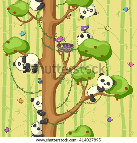 seamless texture with funny pandas on the tree, bright colors, vector illustration - stock vector