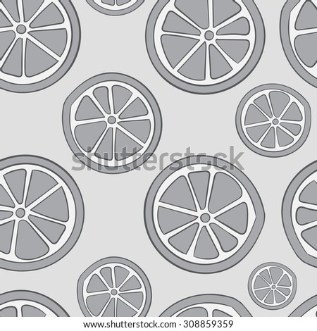 Seamless texture with gray colourless citrus fruit - stock vector