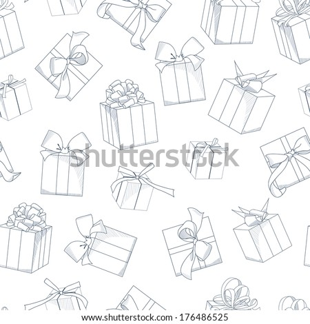 Seamless texture with  hand drawn gift boxes with bows and ribbons.  Sketch illustration on white background. - stock vector