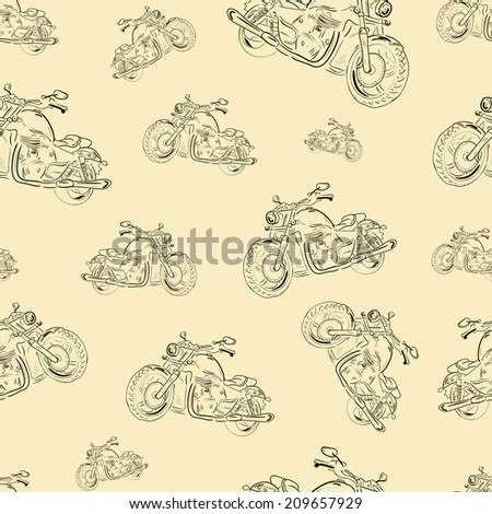 Seamless texture with motorcycles in a retro style - stock vector
