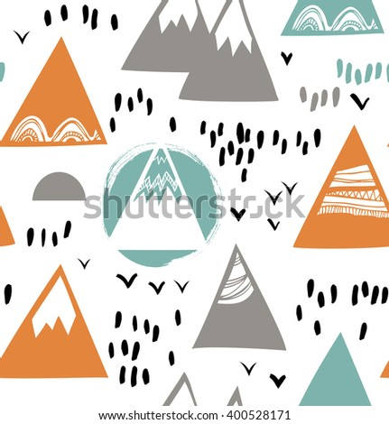 Seamless texture with mountains, rocks in scandinavian style. Decorative background with landscape - stock vector