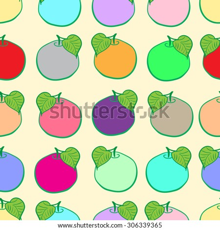 Seamless texture with multi-colored fruit with a leaflet - stock vector
