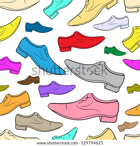 Seamless texture with multi-colored men's shoes on the white