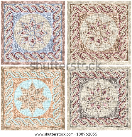 Seamless texture with multicolored mosaics in the Byzantine style/Antique mosaic/Mosaic tiles in antique style - stock vector