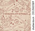 Seamless texture with real Ceskoslovensko pistole stamps. Seamless background - stock photo