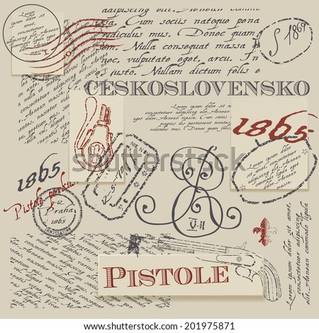 Seamless texture with real Ceskoslovensko pistole stamps. Seamless background - stock vector