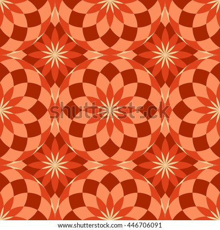Seamless texture with red circles and tiles - stock vector