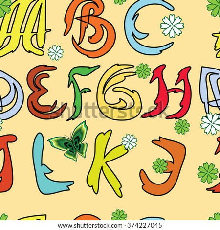 Seamless texture with spring alphabet. Colorful english letters on light beige background - stock vector