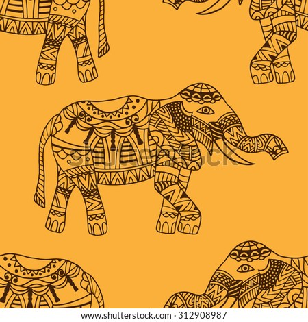 Indian elephant wallpaper pattern
