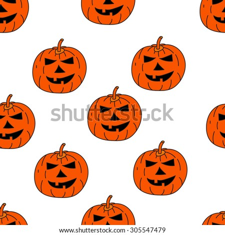 Seamless texture with the image of pumpkins, jack-o'-lantern, Jack, halloween, orange pumpkin on a white background - stock vector