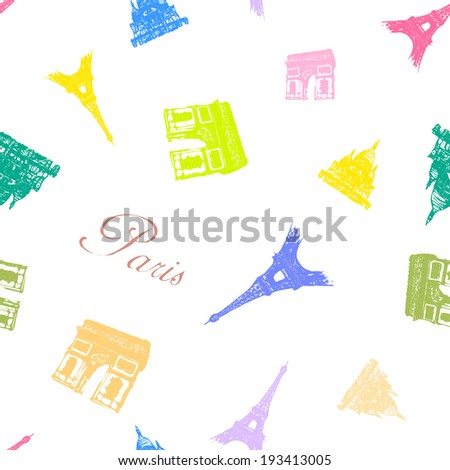 Seamless texture with the monuments of Paris. - stock vector