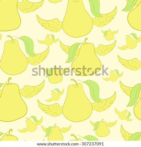 Seamless texture with the winged yellow flying pears - stock vector