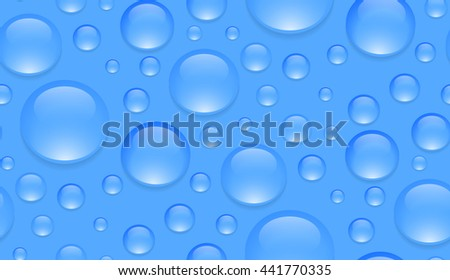 Seamless texture with transparent water droplets. Vector background for your creativity - stock vector