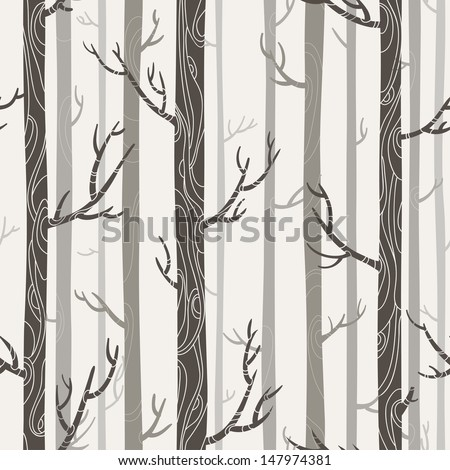 seamless texture with trees, patterns on trees, bright colors, vector illustration - stock vector