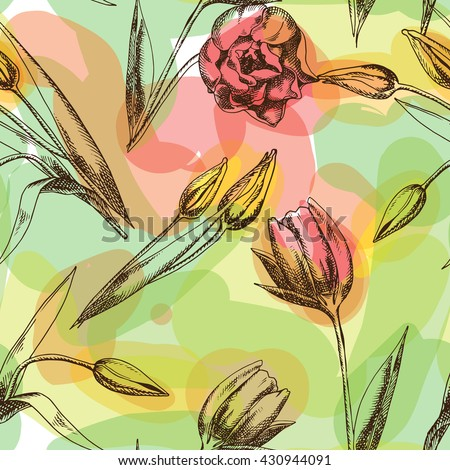 seamless texture with tulips