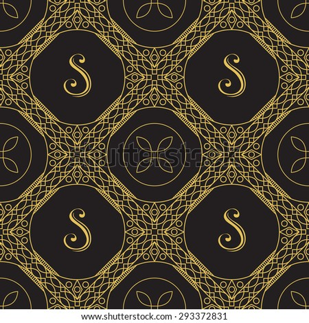 Seamless texture with vintage geometric ornament. Vector lineart pattern - stock vector