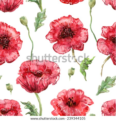 seamless texture with watercolor painting of poppies - stock vector