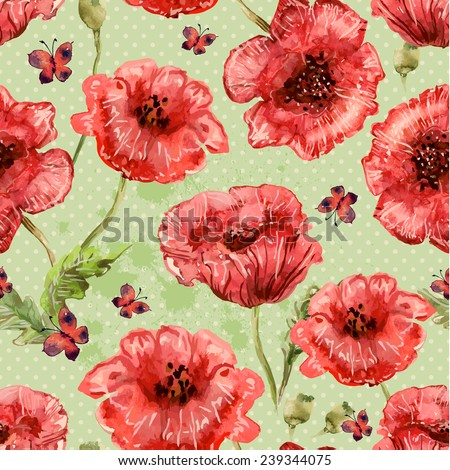 seamless texture with watercolor painting of poppies and butterfly - stock vector