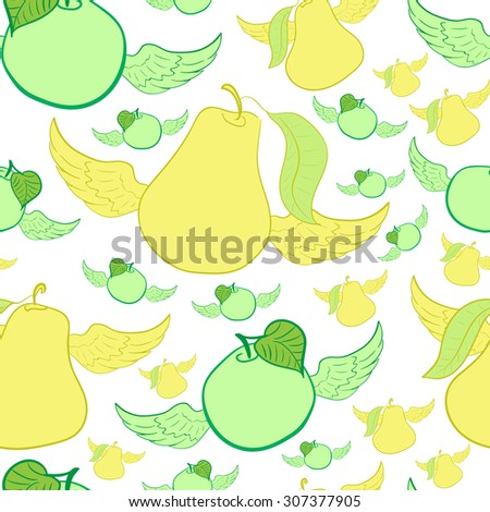 Seamless texture with winged apples and pears - stock vector