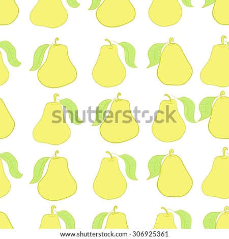 Seamless texture with yellow pears with sheets - stock vector