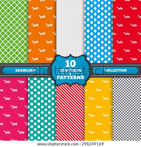 Seamless textures. Document icons. File extensions symbols. PDF, XLS, JPG and ISO virtual drive signs. Endless patterns with circles, diagonal lines, chess cell. Vector - stock vector