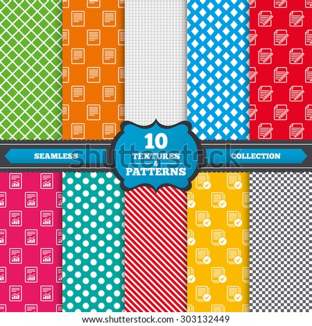 Seamless textures. File document icons. Document with chart or graph symbol. Edit content with pencil sign. Select file with checkbox. Endless patterns with circles, diagonal lines, chess cell. Vector - stock vector
