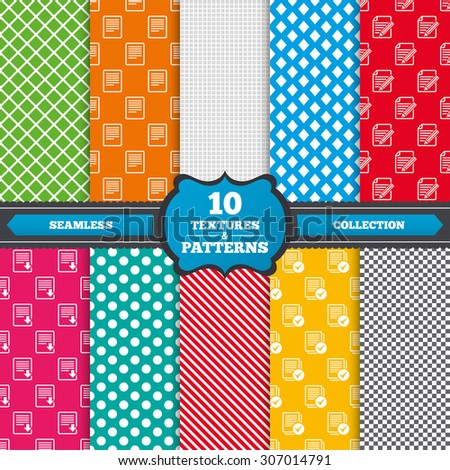 Seamless textures. File document icons. Download file symbol. Edit content with pencil sign. Select file with checkbox. Endless patterns with circles, diagonal lines, chess cell. Vector - stock vector