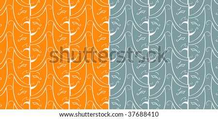 Seamless theatrical pattern in orange and blue - stock vector