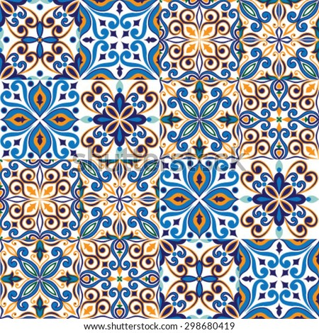 Seamless tile background, blue, white, orange Arabic, Indian patterns, Mexican talavera tiles - stock vector