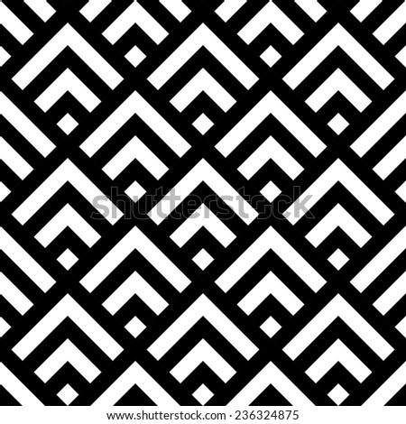 Seamless Tile Background in black and white squares. Vector Monochrome Texture - stock vector