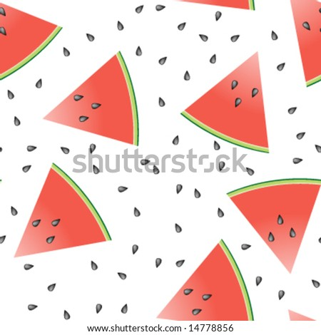 Seamless tile of watermelon slices and seeds. - stock vector