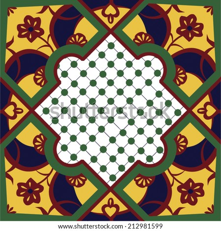 Seamless tile pattern in a style similar to Morroccan or traditional talavera tiles. In traditional colors of green, red and gold this tile is very intricate featuring a abstract flower.  - stock vector