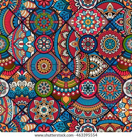 Seamless Tile Pattern Moroccan Bohemian Mandala Stock ...
