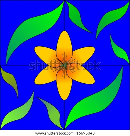 seamless tile with bright yellow flower and leaves on blue background - stock vector