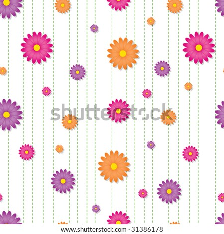 Seamless tile with brightly colored daisies arranged over green dashed stripes - stock vector