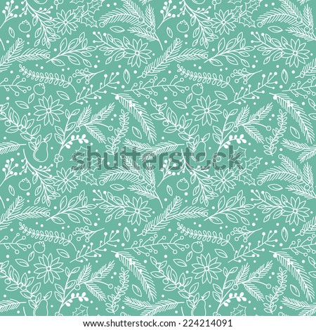 Seamless Tileable Christmas Holiday Floral Background Pattern - Vector Illustration - stock vector