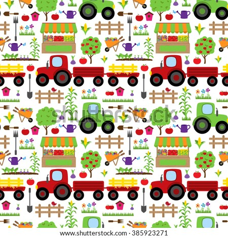 Seamless, Tileable Farming or Gardening Themed Vector Background Pattern - stock vector
