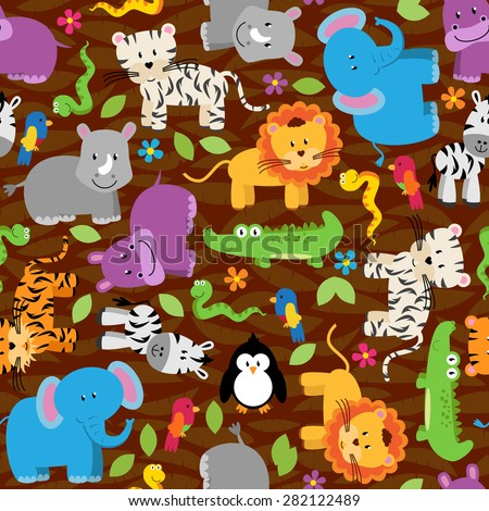 Seamless, Tileable Jungle or Zoo Animal Themed Background Patterns - stock vector
