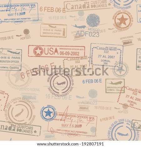 seamless tiling postage themed pattern with stamps - stock vector