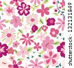 seamless tiny spring flower pattern background - stock vector