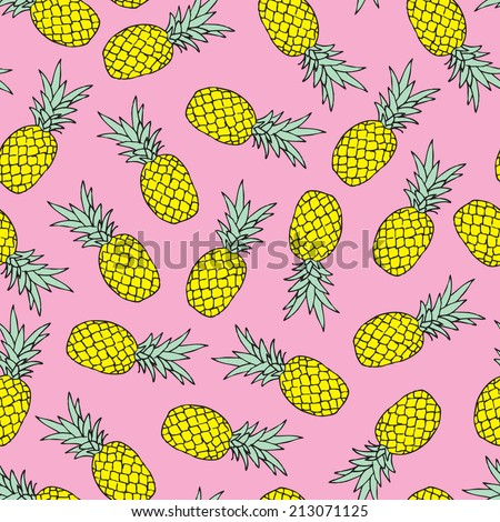 Seamless tossed summer pineapple fruit illustration background pattern in vector - stock vector