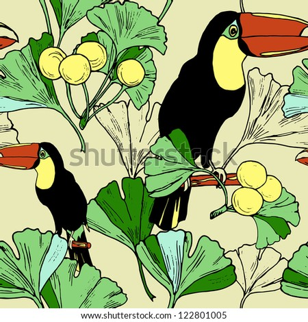 Seamless toucan and leaf pattern in vector - stock vector