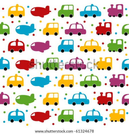 Seamless toy car and plane background for baby boy. - stock vector