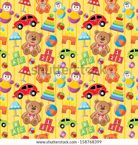 Seamless toys pattern. vector