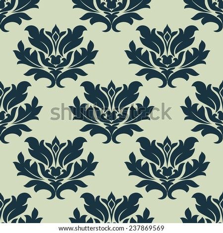 Seamless tracery pattern of  dark green leaves scrolls for background or fabric design - stock vector