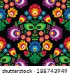 Seamless traditional floral Polish pattern on black - stock photo