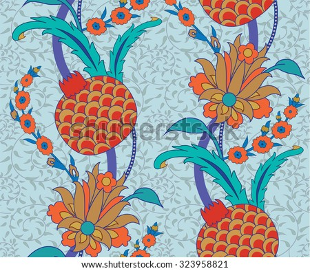 Seamless Traditional Turkish Ottoman Floral Pattern - stock vector