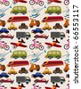 seamless transport pattern - stock vector